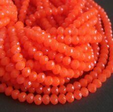 15inch- Orange Quartz Glass Faceted Rondelle Beads...8x6mm..
