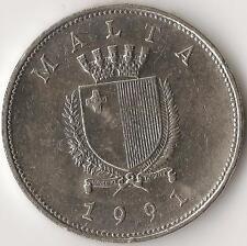 MALTA, 1 LIRA 1991, km 99, Nickel