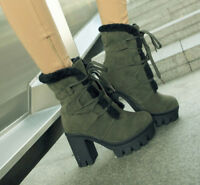New Womens Winter Snow Ankle Boots Chunky High Heels Platform Lace Up Punk Shoes