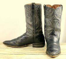 Vintage Cowboy Boots Sears Distressed Black Leather Rockabilly Western Mens 10.5