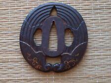 Edo Period Iron Japanese Tsuba wild ginger design
