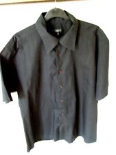 GREAT MENS NEXT BLACK COTTON WITH TUFTED STRIPES SHORT SLEEVES SHIRT - Size XL