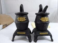 CAST IRON POT BELLY WOOD STOVE BELLIED VINTAGE SALT & PEPPER SHAKERS