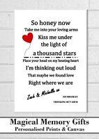 ed sheeran lyric valentines personalised gift print boyfriend girlfriend wife a4