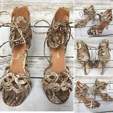 Ladies Beige Snakeskin Print High Heel Ankle Wrap Sandals Size 5 UK River Island