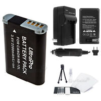 NB-12L 2200mAh Replacement Battery + Charger for Canon PowerShot N100