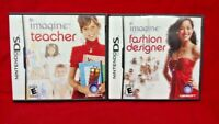 Imagine Fashion Designer + Teacher - Game Lot Nintendo DS Lite 3DS 2DS Tested