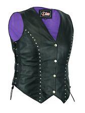 Womens Leather Waistcoat Motorcycle Ladies Gilet Biker Sleeveless Jacket Ladies