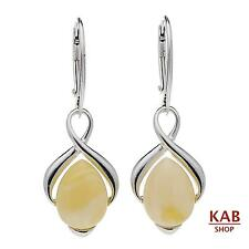CREAM BALTIC AMBER STERLING SILVER 925 JEWELLERY EARRINGS. KAB-148s