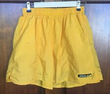 Vintage 80s 90s Speedo Swimsuit Swim Trunks Board Shorts Yellow Surf Men's Sz M