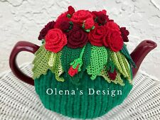 Crochet tea cozy green tea pot cover red red roses tea cosy warmer Mother's Day