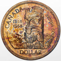 1958 CANADA TOTEM DEATH DOLLAR SILVER BU COLOR TONED STRIKING UNC GOLDEN (DR)
