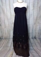 Exquisite Black Gold Strapless Silk OASIS Maxi Dress Gown Size 12