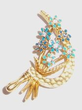 Joan Rivers Rare Sickle and Blue Flowered Pin Brooch Retired