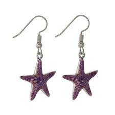Purple Starfish Fashionable Earrings - Epoxy - Fish Hook - Silver Plated