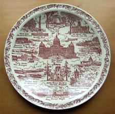 Vernon Kilns collector plate~Iowa~Ultra maroon~pristine-No Reserve