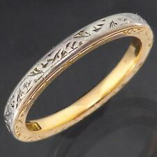 Vintage All-Around Incised Pattern Solid 18k 2-Tone CHUNKY BAND RING Sz L1/2