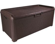 Ondis24 Santo Gartenbox Kissenbox Rattan Sitzbank Auflagenbox braun 560 L
