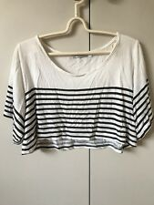 Minkpink Cropped Tshirt Top SiZe S 8-10 BlAck N Striped Short Sleeve