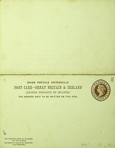 GB & IRELAND UNUSED HALF PENNY QV UPU POSTAL STATIONERY REPLY CARD