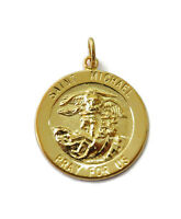 Sterling Silver 0.925 Gold Toned Saint St Michael Medal Necklace Pendant Charm