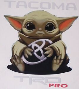 Baby Yoda w/ Text Sticker decal Fit Tundra Tacoma Prius Camry Corolla Sienna