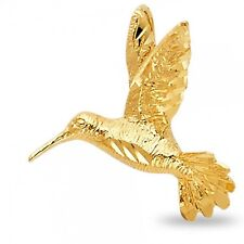 Humming Bird Charm Solid 14k Yellow Gold Bird Pendant Quality Design Genuine