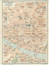 Carta geografica antica FIRENZE FLORENCE CENTRO TCI 1922 Old antique map
