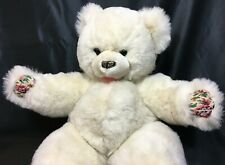 RARE White Teddy Bear Floral Paws Plush Westcliff Collection Stuffed Animal 20""