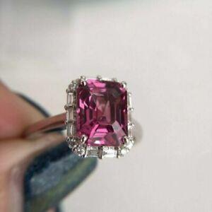 3.00 Carat Emerald Cut Rhodolite Garnet 925 Sterling Silver Ring Women's Wedding