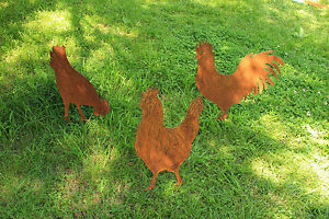EDELROST Hühnerfamilie Hahn Huhn Gockel Tier Skulptur Rost Gartendeko Edel Deko