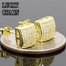 Men`S 925 Sterling Silver(7.5mm x 7.5mm)Lab Diamond Gold Stud Earring/E21
