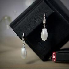 Boucles d`Oreilles Perle de Culture Goutte Long Blanc Argent Massif 925 14mm B