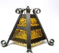 Vtg. Antique Gothic Spanish Revival Wrought Iron Amber Glass Chandelier