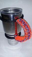 Paracord Handle for 40oz, 30oz or  20oz  YETI, Ozark, Rtic. Confederate & Orange