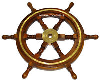 "Antique Vintage 24"" Brass & Wood Ship Wheel Nautical Bar Decor Steering Boat"