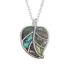 Blue Green Abalone / Paua Shell Leaf Pendant on Silver Chain Necklace