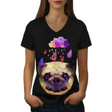 Wellcoda Pug Dog Rain Cool Funny Womens V-Neck T-shirt, Tear Graphic Design Tee