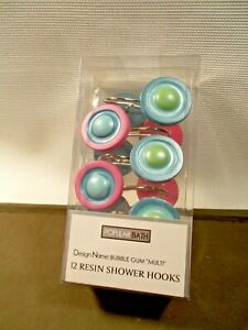 NEW BUBBLE GUM SHOWER CURTAIN HOOKS 12PC SET POPULAR BATH