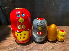 Russian Nesting Dolls Chicken/ Rooster Beautiful Set 4 pcs Nice Gift