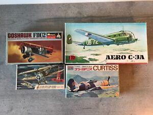 4 KITS VINTAGE : KP AERO C-3A+ AIRFIX CAMEL+MONOGRAM F11C+AOSHIMA P-36A AU 1/72