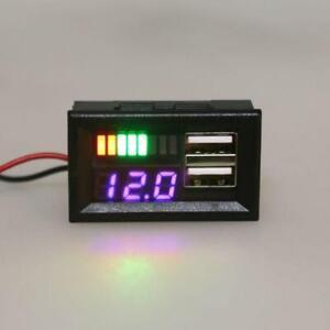Digital LED Display Mini Voltage Meter Volt Tester For DC 12V Car USB 5V2Aoutput