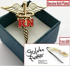 """Lot of 2 REGISTERED NURSE CADUCEUS RN MEDICAL LAPEL PIN 1.5"""" GOLD PLATED+ Gift"""