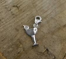Sterling Silver Unusual MARTINI GLASS Clip on Charm