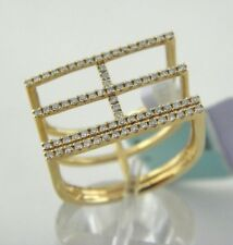 GEOMETRIC SQUARE WIDE RING IN 18K ROSE GOLD 0.34 Dtw DIAMONDS SZ 7.5