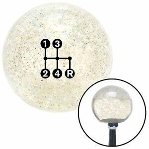 Black 4 Speed Shift Pattern - Dots 6n Clear Metal Flake Shift Knob M16 x 1.5 sbc