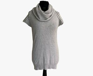 Mint Velvet Long Jumper Size 12 Silver Grey Cowl Neck Wool Blend Short Sleeve