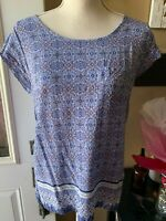 Woman's Blue Boho Blouse Top Medium Floral Print