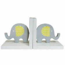Book Ends - Grey Elephants White Base - Bookends Kids Room Nursery Decor Child