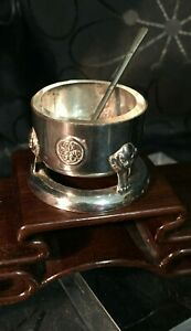 Antique Japanese Asian Sterling Silver Condiment w Spoon & Lion Faces and Crests